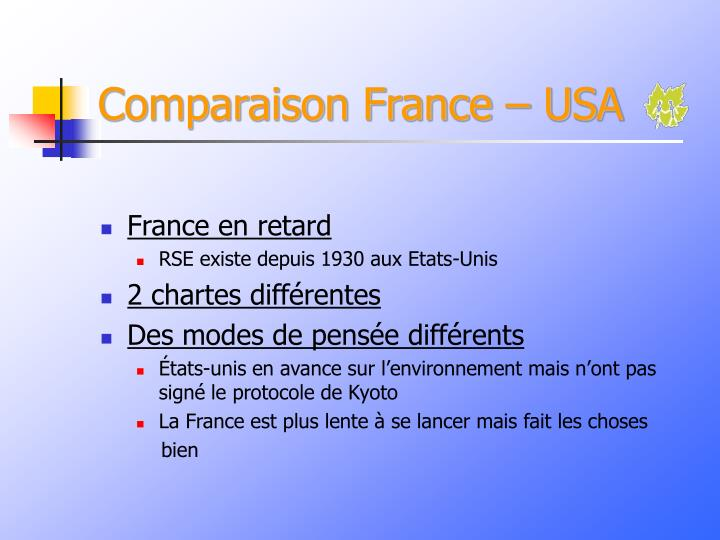 Comparaison France – USA