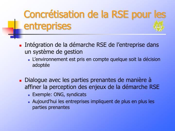 Concrétisation de la RSE pour les entreprises