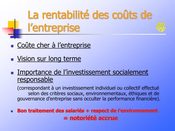 La rentabilité des coûts de l'entreprise
