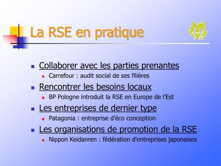 La RSE en pratique