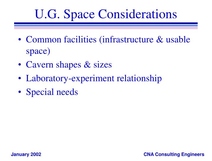 U.G. Space Considerations