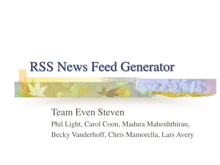 Rss news feed generator