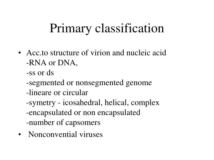 Primary classification