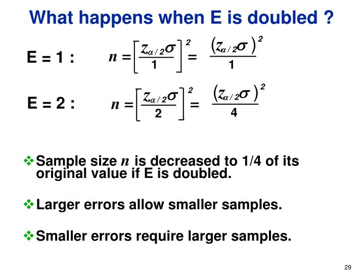 What happens when E is doubled ?