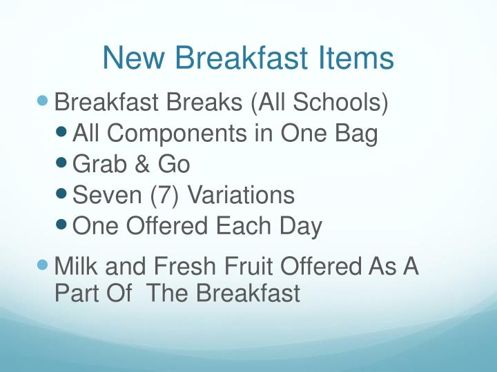 New Breakfast Items