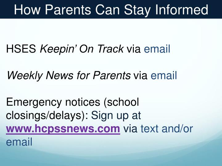 How Parents Can Stay Informed