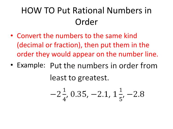 HOW TO Put Rational Numbers in Order
