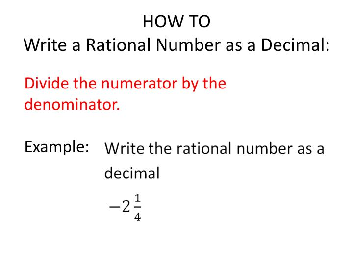 How to write a rational number as a decimal
