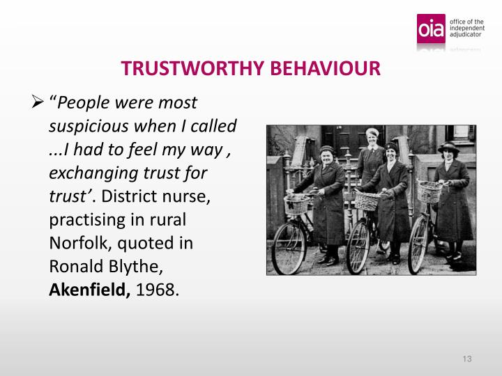 TRUSTWORTHY BEHAVIOUR