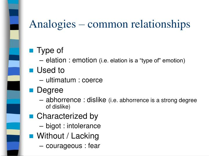 Analogies – common relationships
