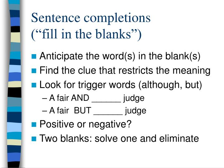 Sentence completions