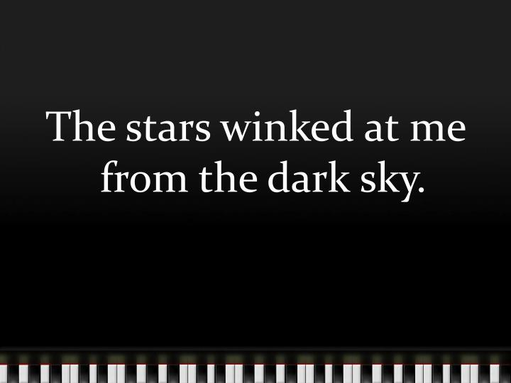 The stars winked at me from the dark sky.