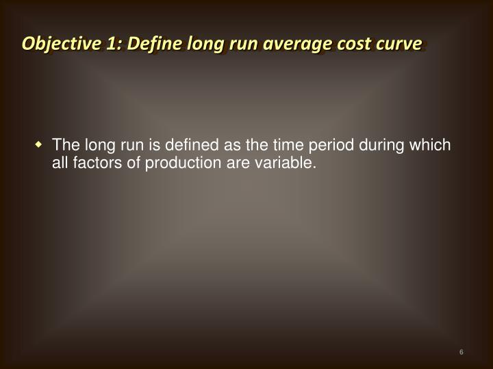Objective 1: Define long run average cost curve