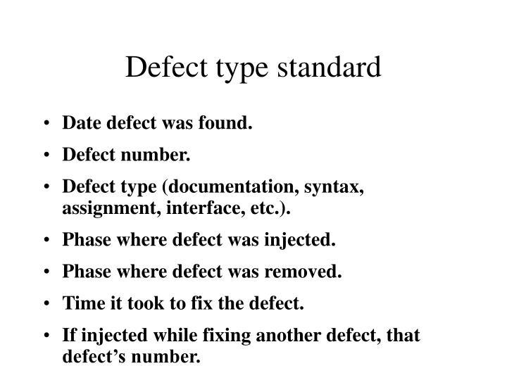 Defect type standard