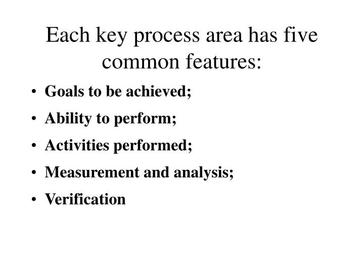 Each key process area has five common features: