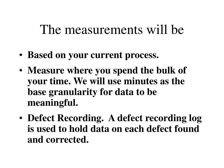 The measurements will be