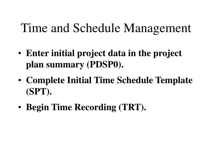 Time and Schedule Management