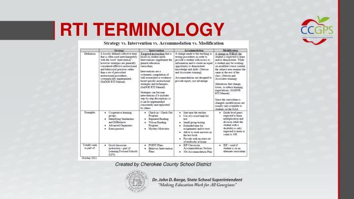 RTI TERMINOLOGY