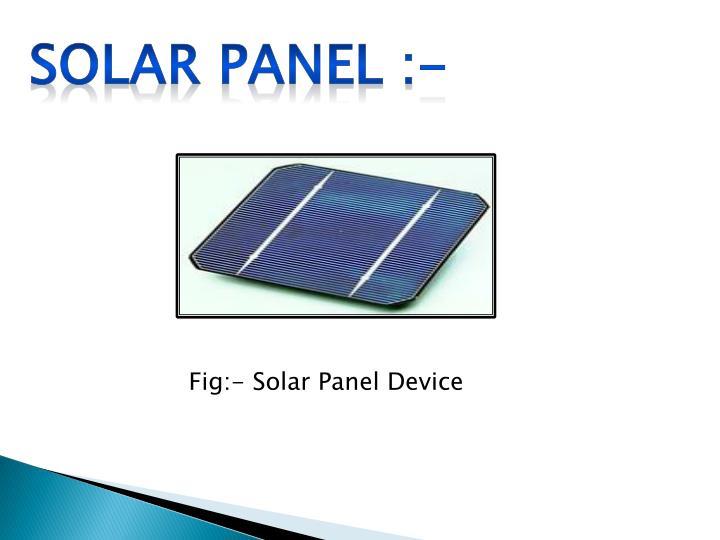 Solar panel :-