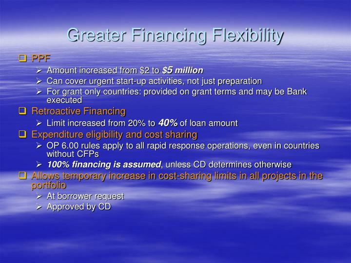 Greater Financing Flexibility