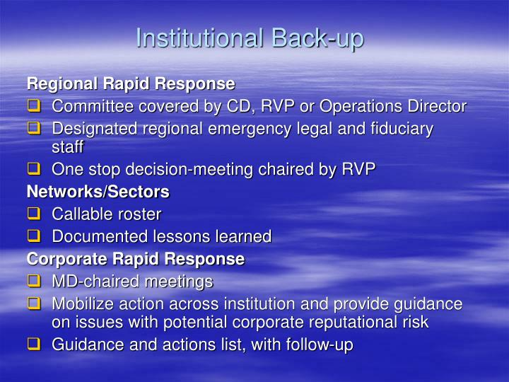 Institutional Back-up
