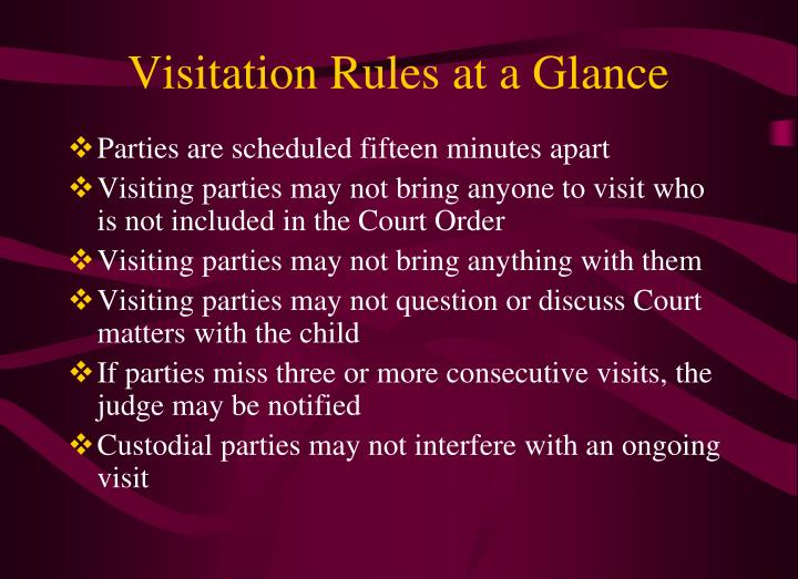 Visitation Rules at a Glance