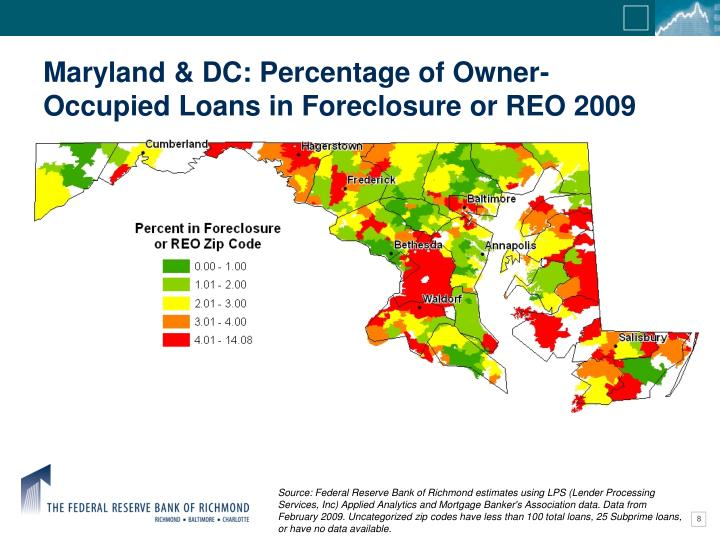 Maryland & DC: Percentage of Owner-Occupied Loans in Foreclosure or REO 2009