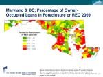 maryland dc percentage of owner occupied loans in foreclosure or reo 2009