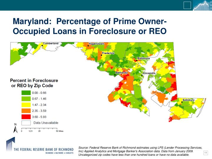 Maryland:  Percentage of Prime Owner-Occupied Loans in Foreclosure or REO