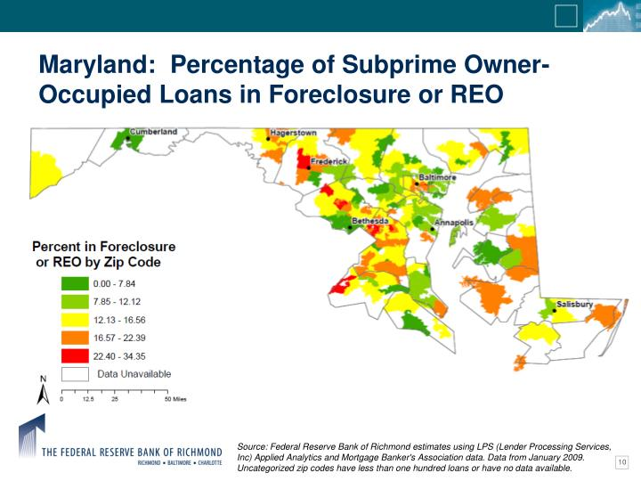 Maryland:  Percentage of Subprime Owner-Occupied Loans in Foreclosure or REO