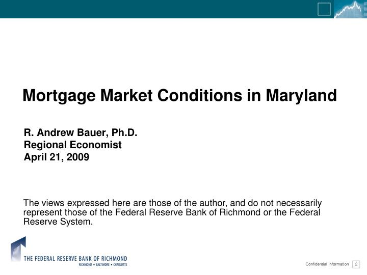 Mortgage market conditions in maryland