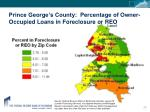prince george s county percentage of owner occupied loans in foreclosure or reo