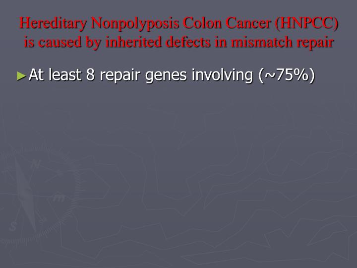 Hereditary Nonpolyposis Colon Cancer (HNPCC) is caused by inherited defects in mismatch repair