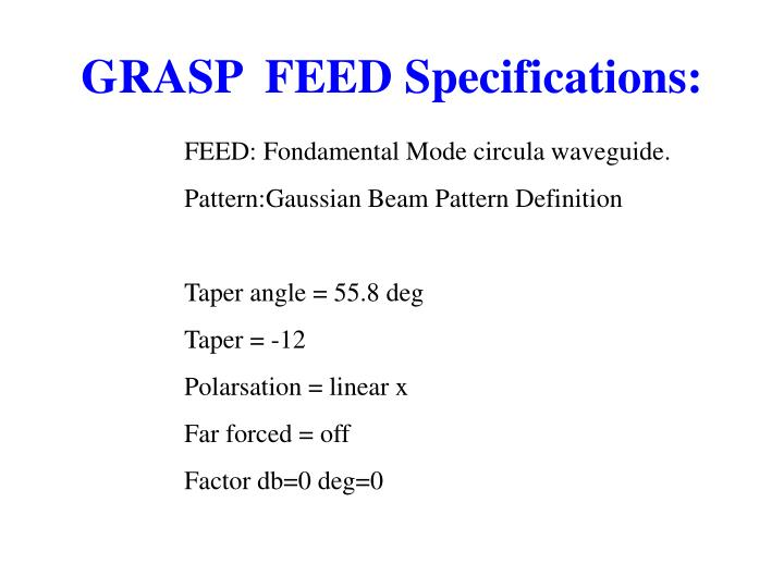 GRASP  FEED Specifications: