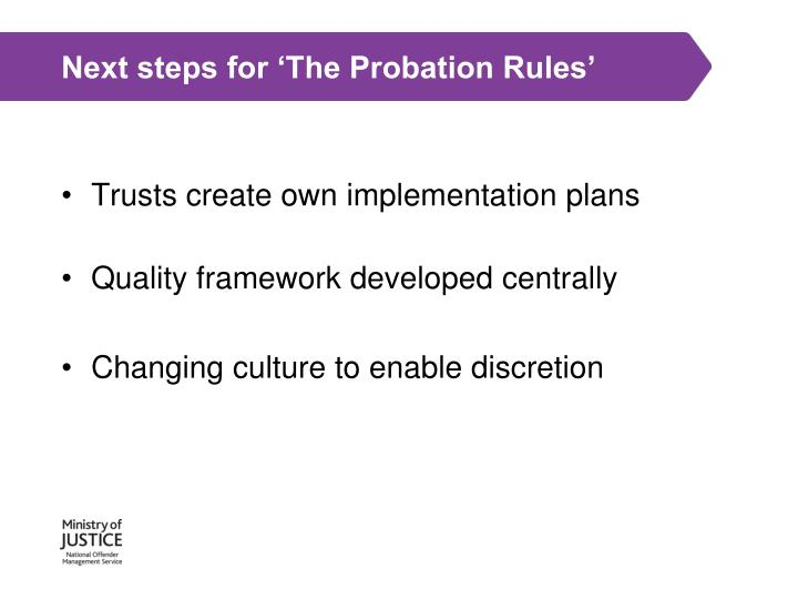 Next steps for 'The Probation Rules'