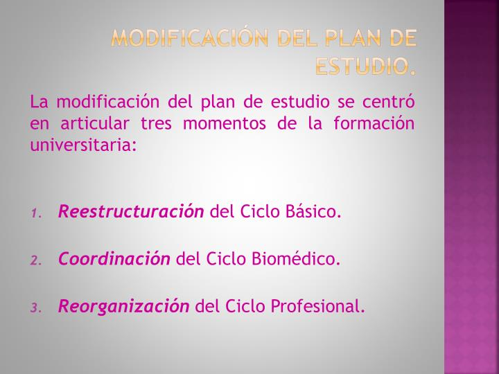 Modificación del Plan de estudio