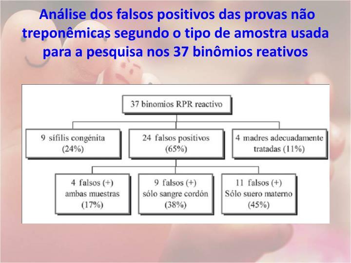Análise dos falsos positivos das provas não treponêmicas segundo o tipo de amostra usada para a pesquisa nos 37 binômios reativos