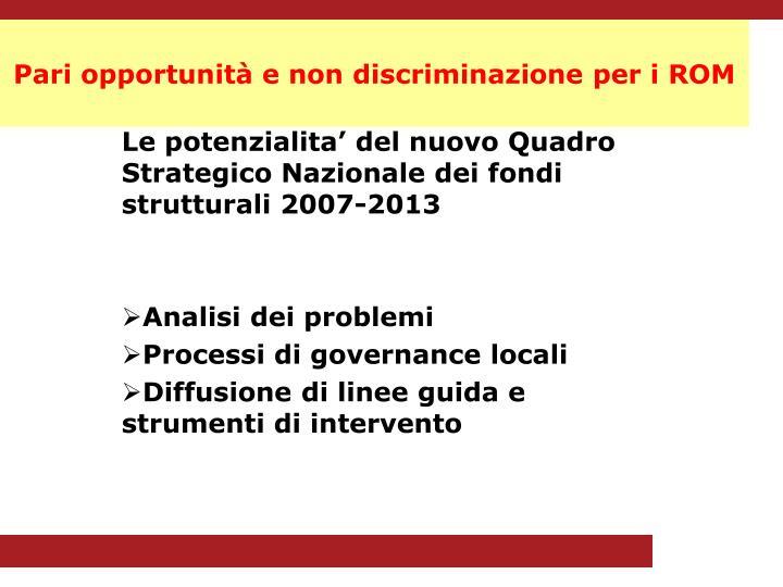 Pari opportunità e non discriminazione per i ROM