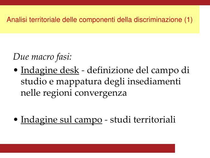 Analisi territoriale delle componenti della discriminazione (1)