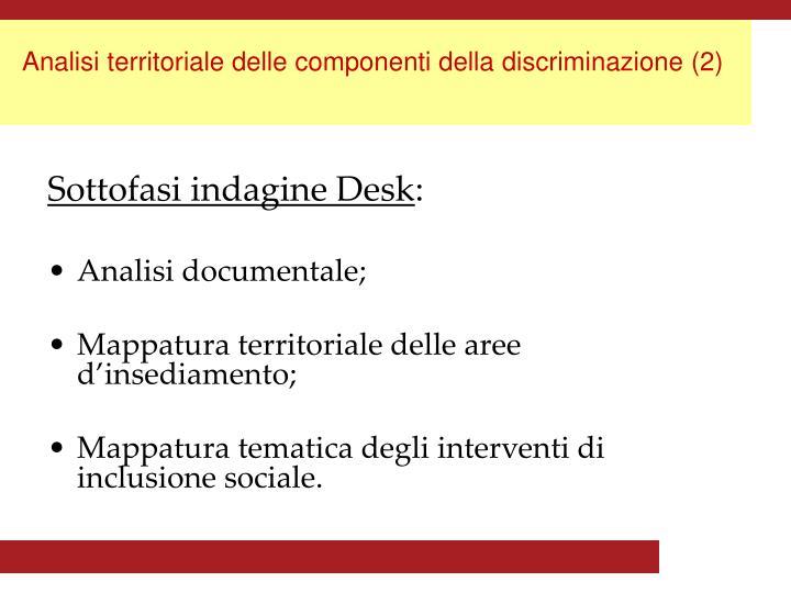 Analisi territoriale delle componenti della discriminazione (2)
