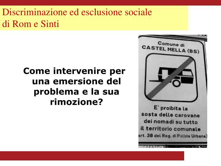 Discriminazione ed esclusione sociale