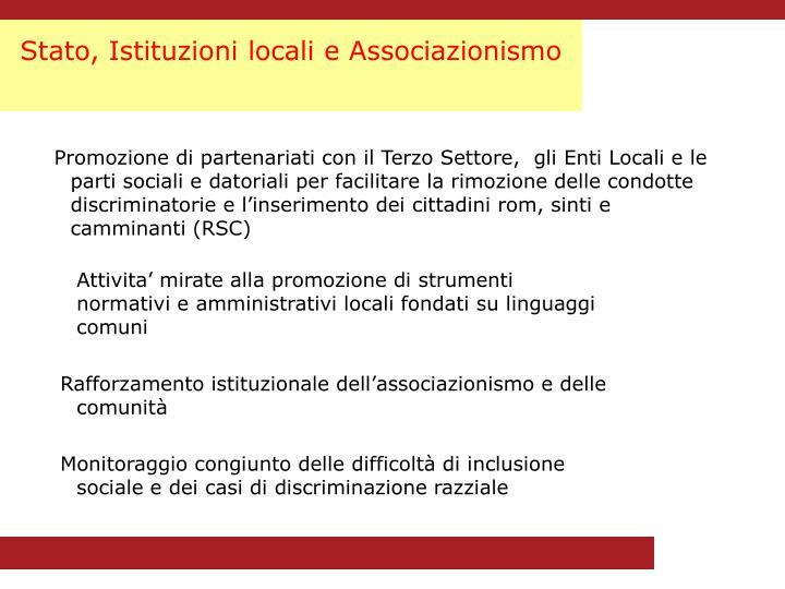 Stato, Istituzioni locali e Associazionismo