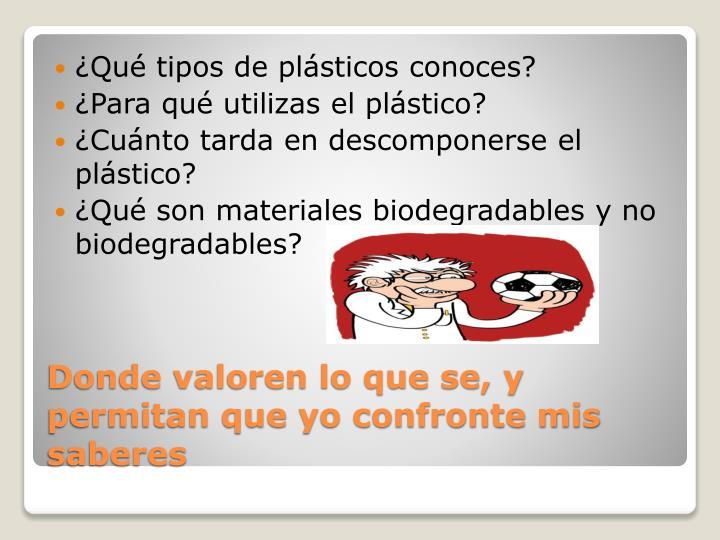 ¿Qué tipos de plásticos conoces?
