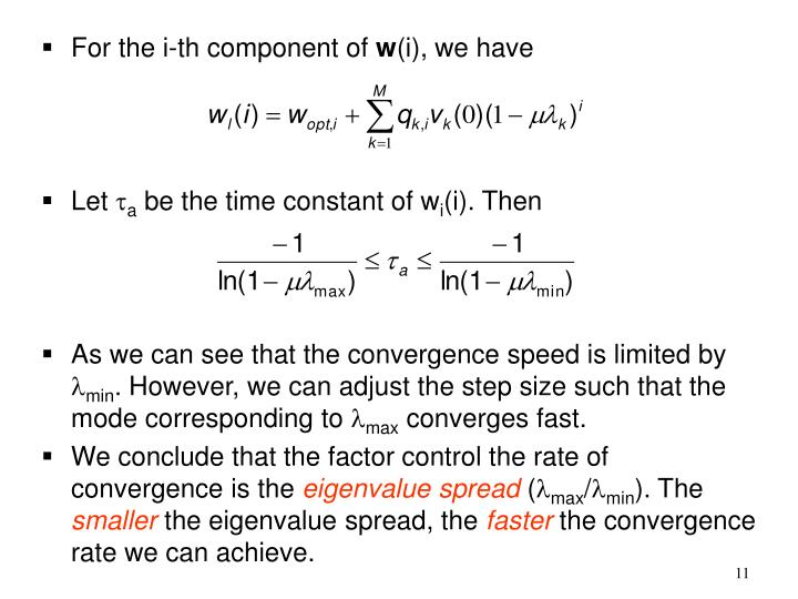 For the i-th component of