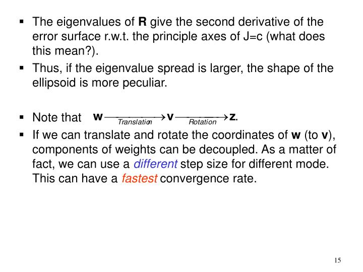 The eigenvalues of