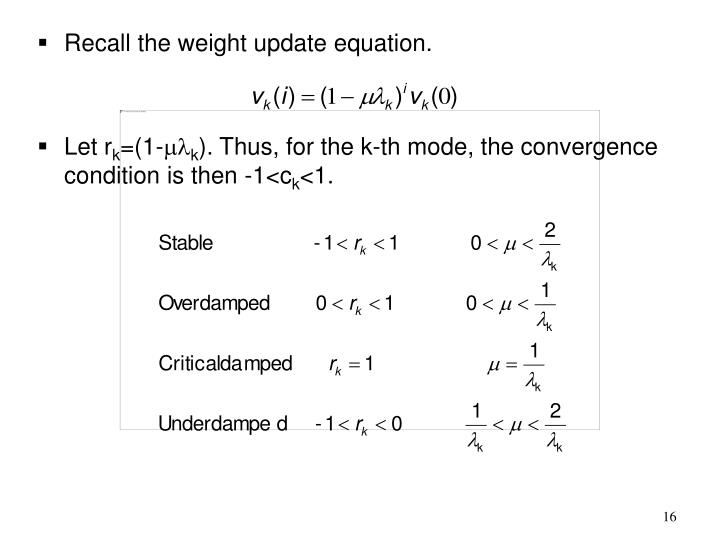 Recall the weight update equation.