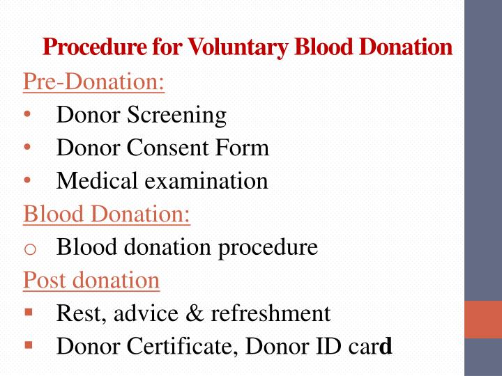 Procedure for Voluntary Blood Donation