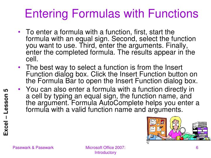 Entering Formulas with Functions