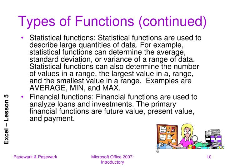 Types of Functions (continued)