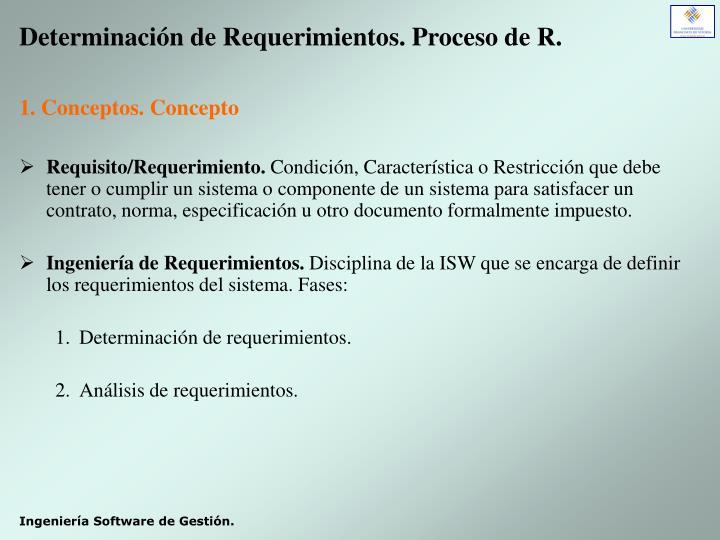 Determinación de Requerimientos. Proceso de R.